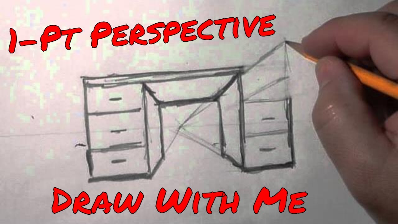 1 Pt Perspective Desk A Basic Quick How To Draw Lesson