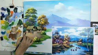 Dạy Vẽ Tranh Đồng Quê (Bài 2 /P1). Khóa học vẽ tranh phong cảnh miễn phí cho ace mới bắt đầu.
