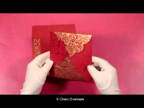 Red Shimmery Floral Themed Screen Printed Wedding Invitations - W-8235C -  123WeddingCards