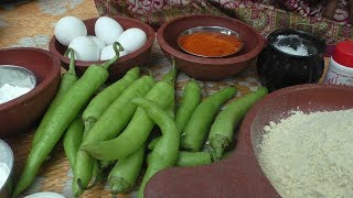 village style Cooking chilli egg bajji recipe / Cooking By Village food Recipes