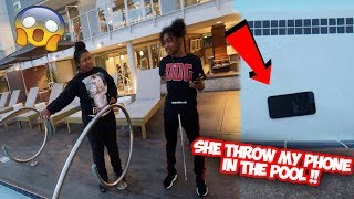 SHE GOT ME BACK ! MY BABY MAMA THROW MY PHONE IN THE POOL * its destroyed *