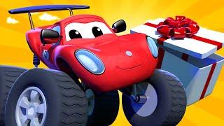 Monster Town - Special father's day - scavenger hunt   Monster Trucks Cartoon for Children