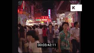 1970s POV Through Hong Kong Market at Night, Neon Signs, HD from 35mm