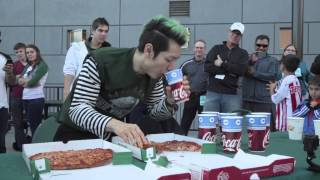 Takeru Kobayashi eats two pizzas in two minutes at PSU football game
