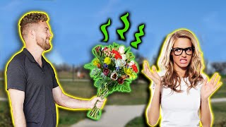 Spraying Flowers with Fart Spray and Giving them to Girls
