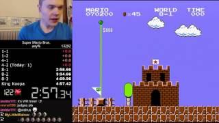 شاب يدخل جينيس لسرعته بإنهاء لعبة ماريو - فيديو