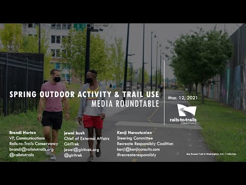Since the pandemic began, people are finding respite and self-care in the outdoors. Many say they are getting outdoors more than they did previously and that having access to outdoor spaces has reduced their stress. Rails-to-Trails Conservancy, GirlTrek and the Recreate Responsibly Coalition address the latest data and testimonials about trail use, tips for recreating responsibly, and the mental and physical health benefits of getting outdoors.