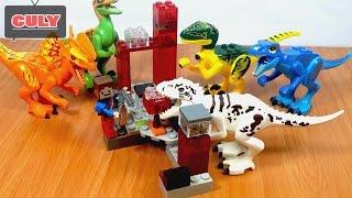 Khủng long bạo chúa trắng sọc Lego MineCraft thợ săn birck toy for kids đồ chơi trẻ em