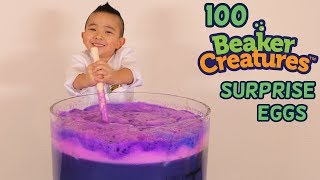 CRAZY 100 SURPRISE EGGS Beaker Creatures kids Experiment Fun With Ckn Toys
