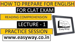 How to prepare for English for #CLAT | Reading Comprehension | Lecture 1