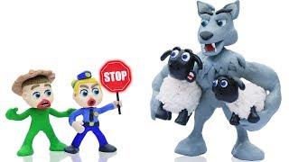 BABY POLICE STOPS WILD BIG WOLF 💖 Animation Cartoons Play Doh