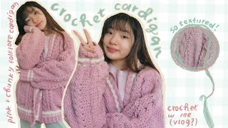 DIY crochet cardigan / pink and chunky version of folklore cardigan