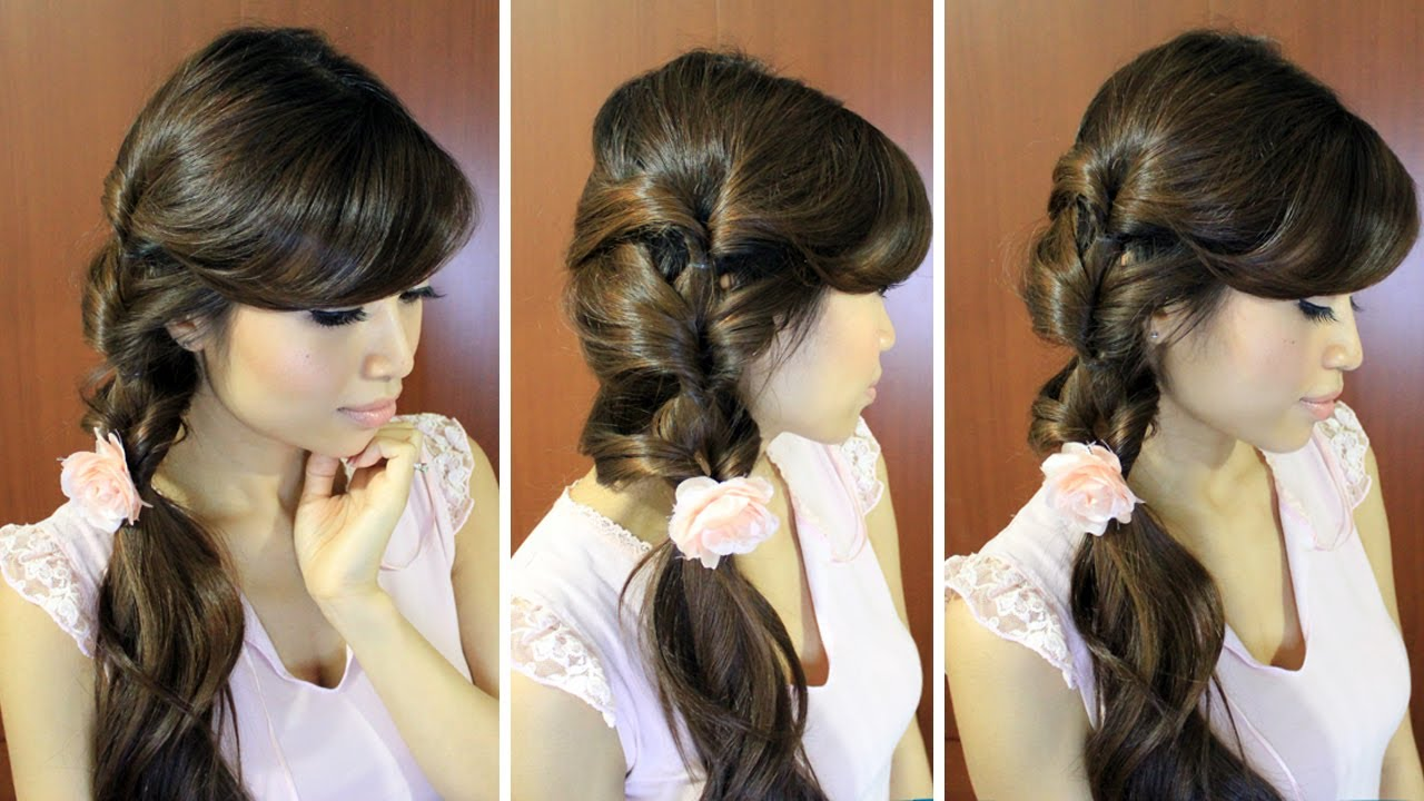 Everyday Fancy Loop Ponytail Hairstyle For Medium Long
