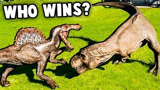SPINOSAURUS vs T REX!  Who Wins?  (Jurassic World Evolution Dino Battles)