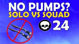 NO PUMPS!? | SOLO VS SQUAD SOLID GOLD | HIGH KILL INTENSE FIGHTS - (Fortnite Battle Royale)