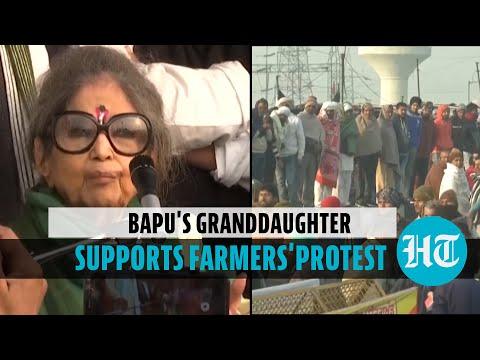 Mahatma Gandhi's granddaughter visits farmers' protest site