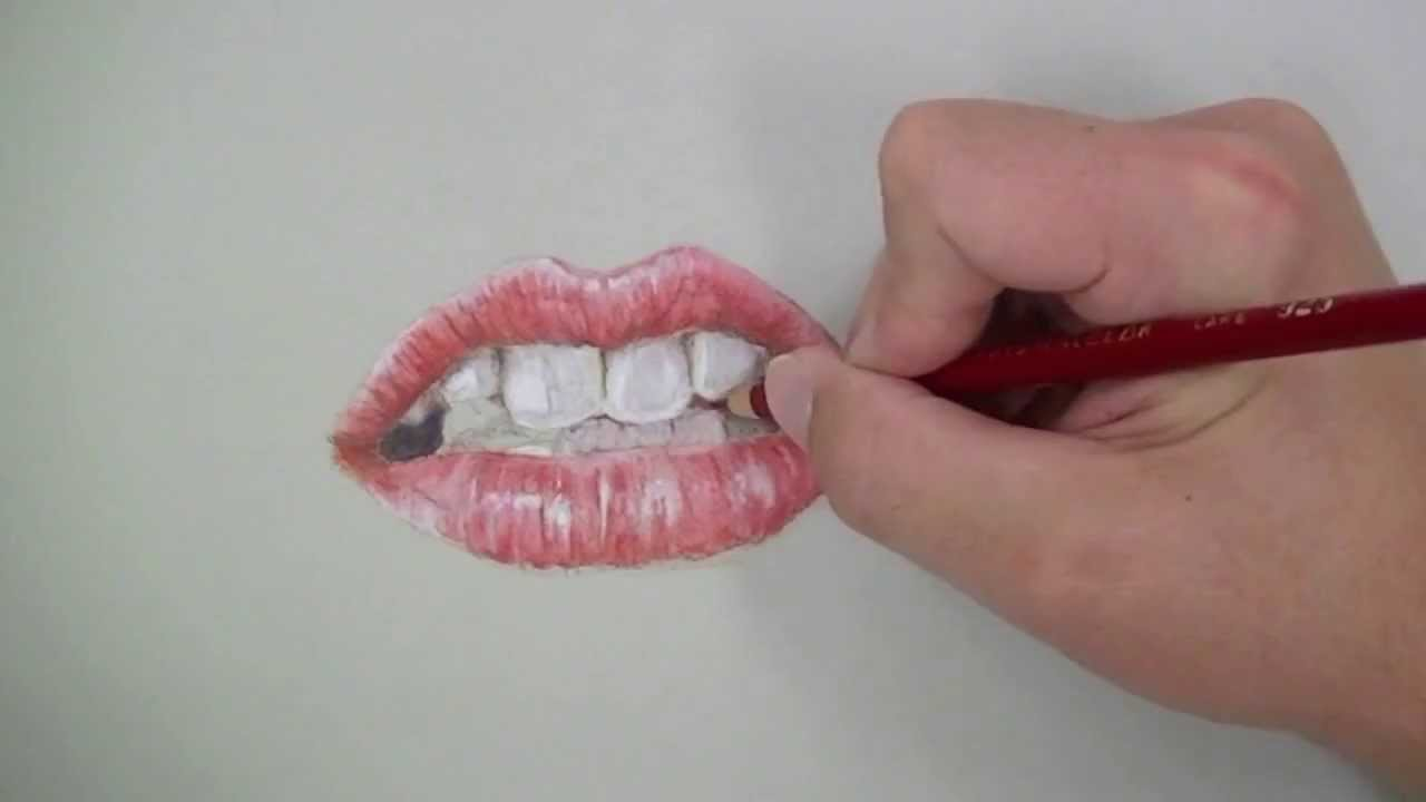 Draw a Realistic Mouth with Colored Pencils - YouTube