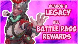 ALL Battle Pass SKINS and REWARDS Season 9 - Apex Legends LEGACY
