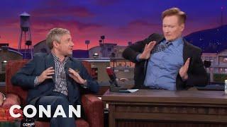 Martin Freeman Makes Conan Do His Terrible British Accent  - CONAN on TBS