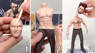 Polymer Clay Sculpture: Wolverine, the full figure sculpturing process【Clay Artisan JAY】