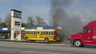 Wreck caught on camera while filming a burning bus!