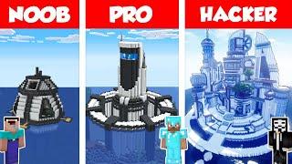 Minecraft NOOB vs PRO vs HACKER:  WATER BASE BUILD CHALLENGE in Minecraft - HOUSE ON WATER