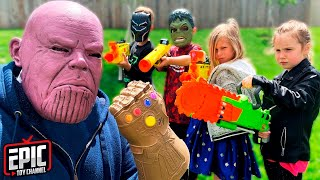 Nerf Battle: Hero Kidz vs Thanos Pretend Play For Kids