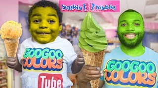 GOO GOO GAGA PRETEND PLAY IN BASKIN ROBBINS ICE CREAM STORE WITH DAD!