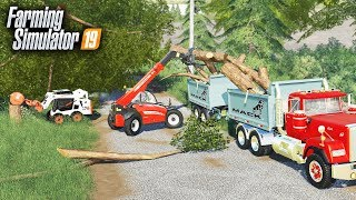 FS19- TORNADO CLEAN UP FOR OLD LADY! (TREES DOWN EVERYWHERE)