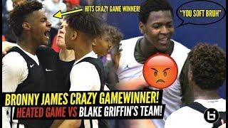 Bronny James CRAZY TRIPLE OT GAME WINNER VS BLAKE GRIFFIN'S TEAM!! RESPONDS TO HEATED OPPONENT!