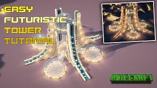 Easy Minecraft Futuristic Base - FULL TUTORIAL - How to build a Minecraft Futuristic Tower Base