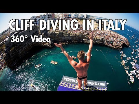 Cliff Diving From a Rocky Ledge in Italy | 360° Video
