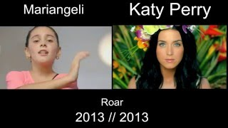 Katy Perry - Roar : 10 year-old Mariangeli and Katy Perry Official (Side by Side)