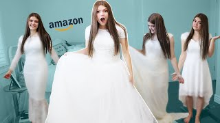 Trying On Cheap Amazon Wedding Dresses