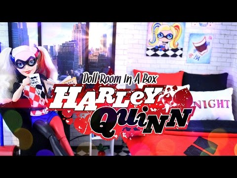 Diy how to make doll room in a box harley quinn for Harley quinn bedroom designs