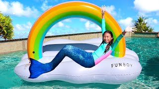 Wendy Pretend Play Swimming Pool Inflatable Colorful Rainbow Cloud Floating Toy for Kids