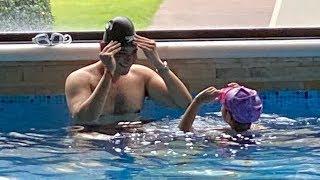 Superstar Mahesh Babu enjoys swimming with Sitara, video g..