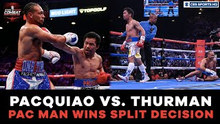 Pacquiao HUGE knockdown | Thurman bloody nose | Pacquiao vs. Thurman Highlights