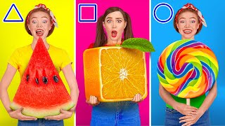 TRY NOT TO EAT || Last To Stop Eating Wins! Geometric Shape Food Challenge By 123 GO! FOOD