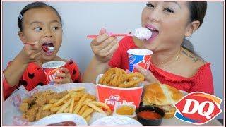 Dairy Queen Deluxe Cheeseburger, Chicken Strips & DQ Blizzard | MUKBANG N.E Let's Eat
