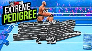 WWE 2K19 - Top 10 ( Extreme Pedirees ) Moments !!