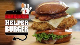 Deep Fried Hamburger Helper Burger