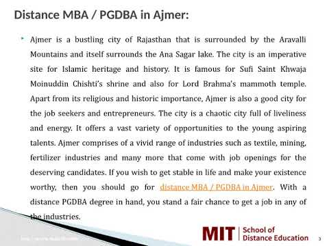 Distance Management Courses | Correspondence MBA | Distance MBA in Ajmer