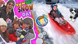 SNOW MUCH FUN! DON'T EAT YELLOW SNOW w/ Puppy Oreo ❄️ Tilted Snowman ⛄  FUNnel Vision Snow Day Vlog