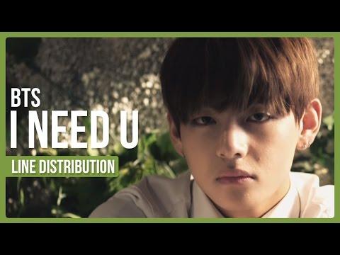 BTS - I Need U Line Distribution (Color Coded)