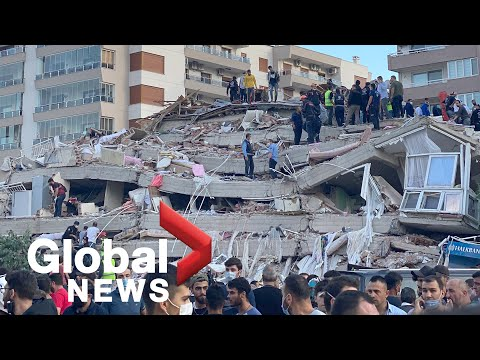 Rescue workers look for survivors after strong earthquake hits parts of Turkey, Greece