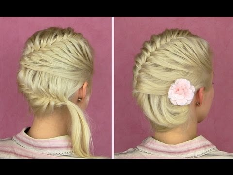 French fishtail braid tutorial Prom seashell updo for ...
