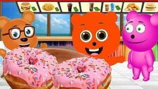Mega Gummy bear Baby wants donuts Cartoon Animation Nursery Rhymes