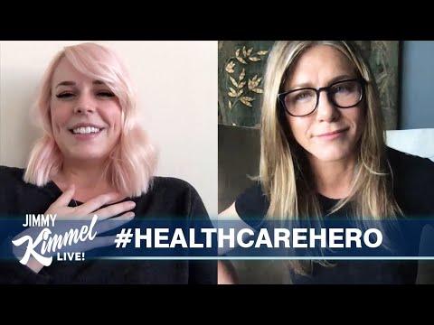 Џими Кимел и Џенифер Анистон ѝ приредуваат изненадување на медицинска сестра