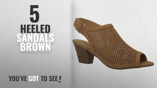 Top 5 Heeled Sandals Brown [2018]: MVE Shoes Open Toe Perforate Laser Cut Chunky Heeled Sandal, Tan
